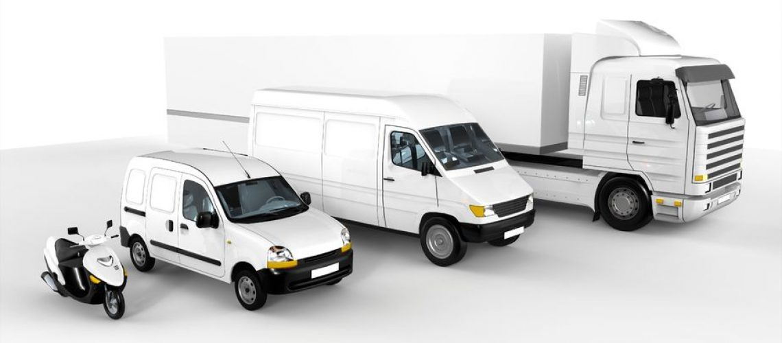 9928078 - rendering of a white scooter, car, van and truck on white background